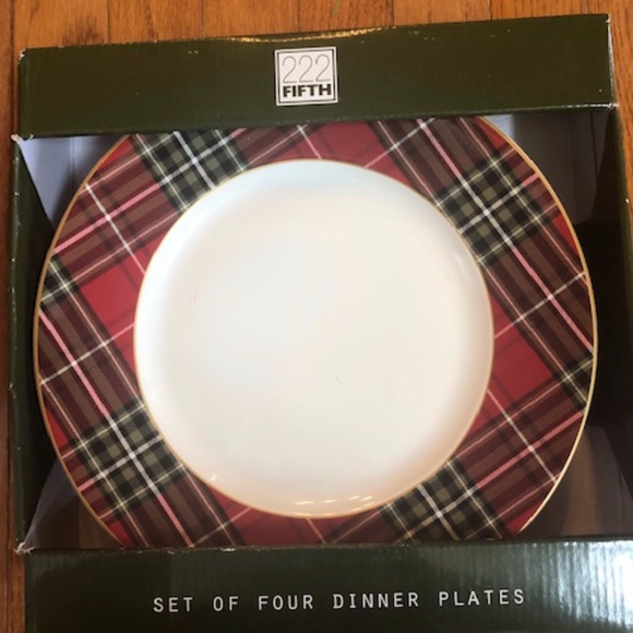 222 Fifth Wexford Plaid Dinner Plates Set 4